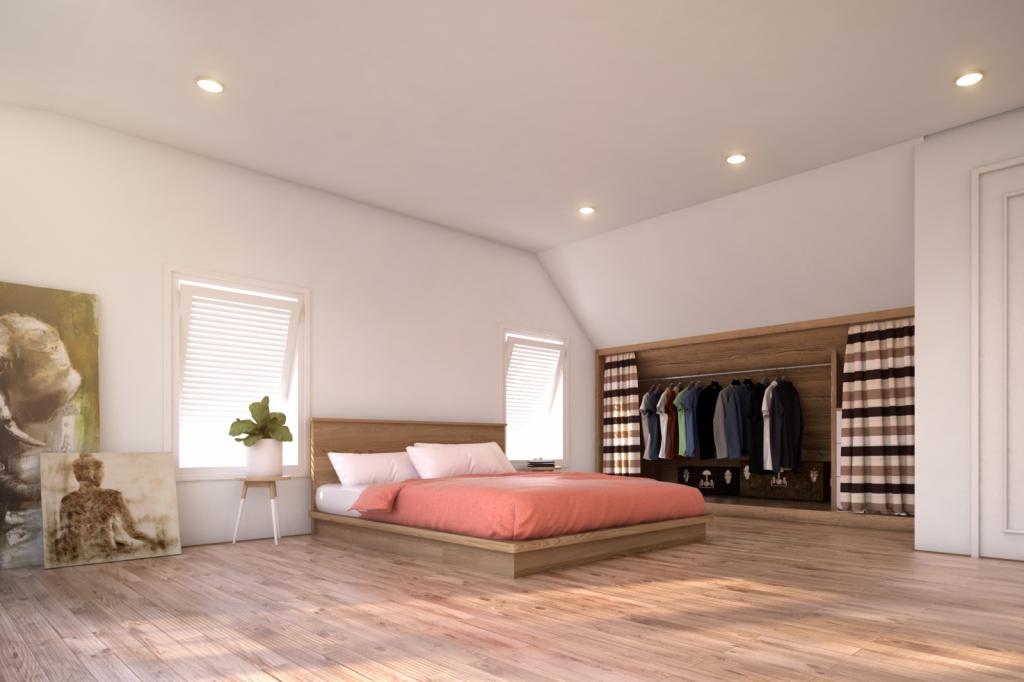 Phòng ngủ đơn tầng áp mái
